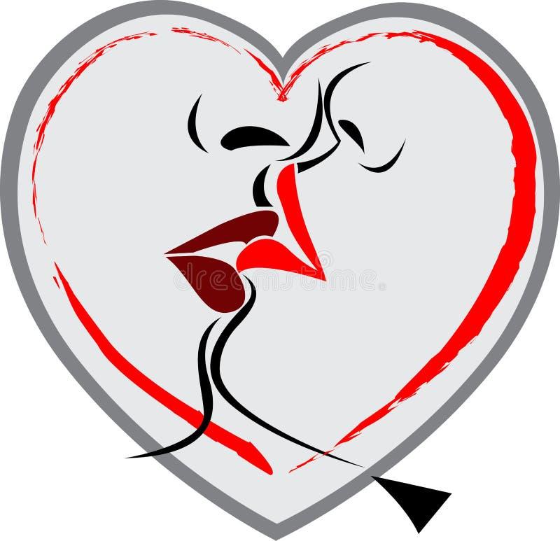 логос губы поцелуя иллюстрация вектора