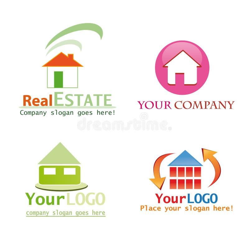 логос дома конструкции иллюстрация вектора