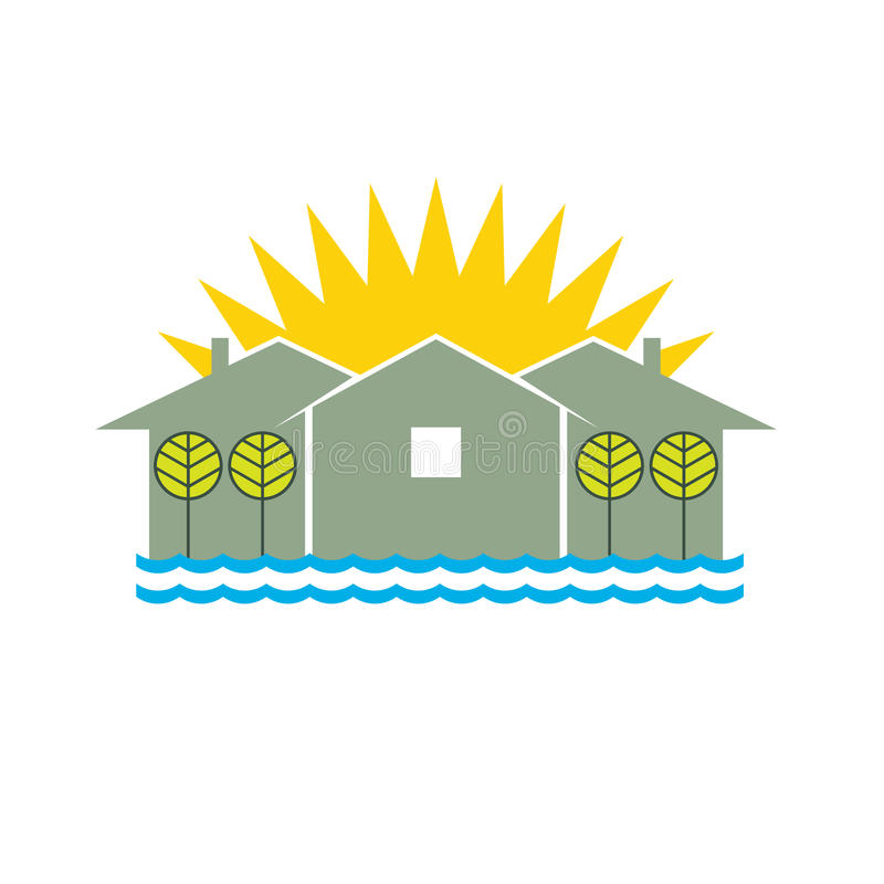 логос дома пляжа иллюстрация вектора
