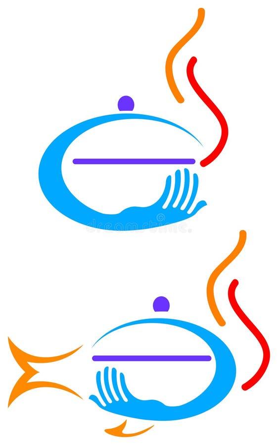 логос доставки с обслуживанием иллюстрация вектора