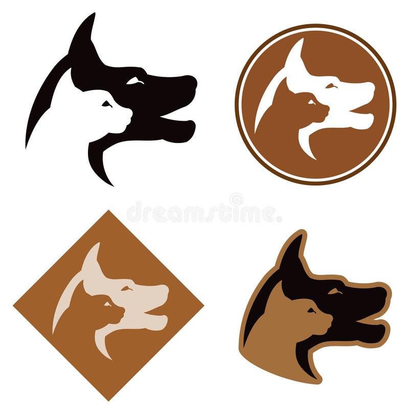 Логос кота и собаки иллюстрация вектора