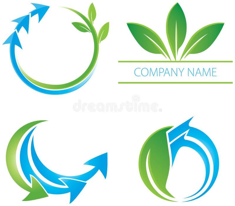 Логос листьев стрелки иллюстрация вектора