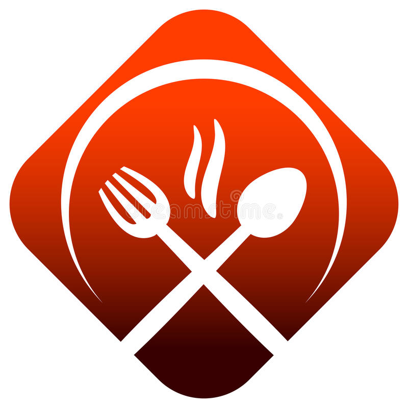 логос обеда иллюстрация вектора