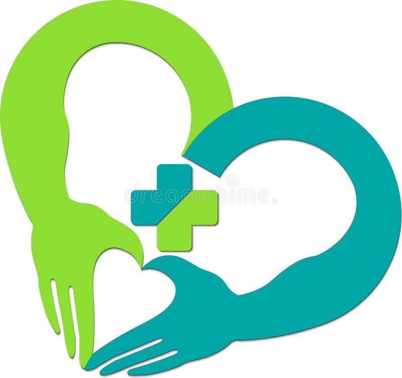 логос сердца руки иллюстрация вектора