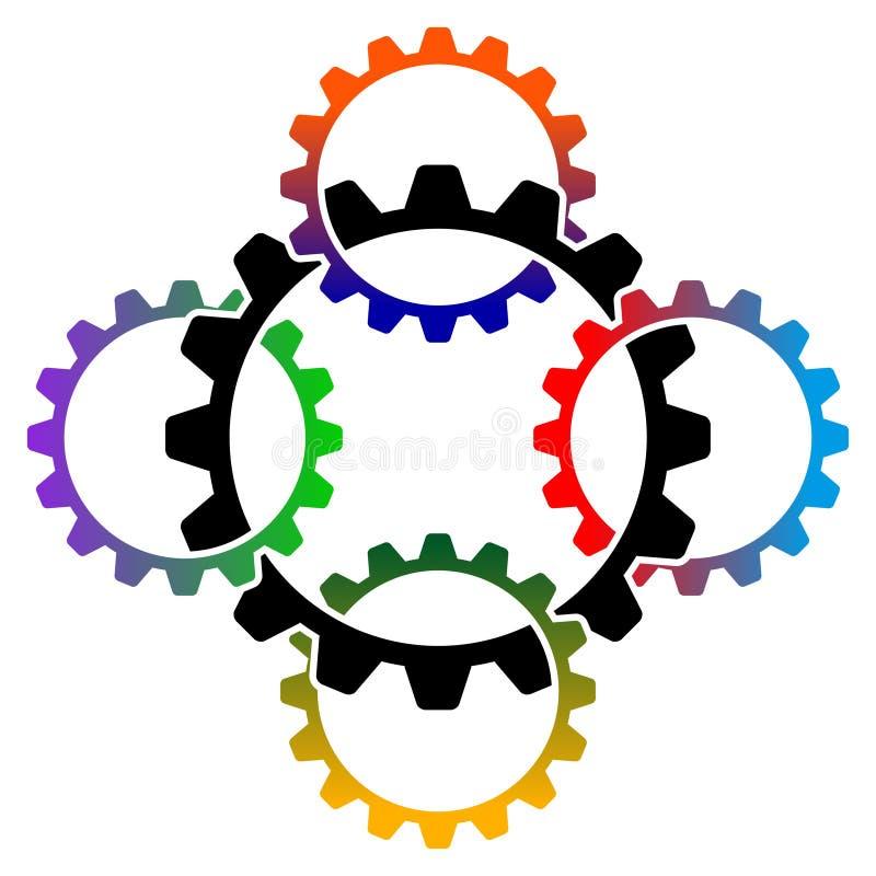 логос сотрудничества iduatrrial иллюстрация вектора