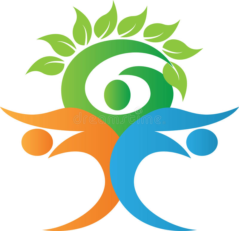 Логос фамильного дерев дерева иллюстрация вектора