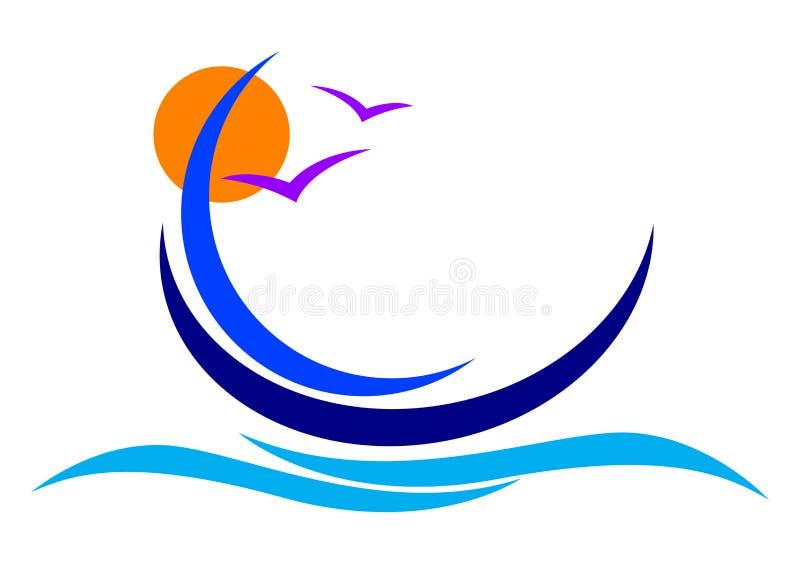 логос шлюпки иллюстрация вектора