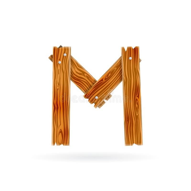 логос m письма Грубый деревянный значок планки Изолированная концепция вектора деревенская иллюстрация вектора