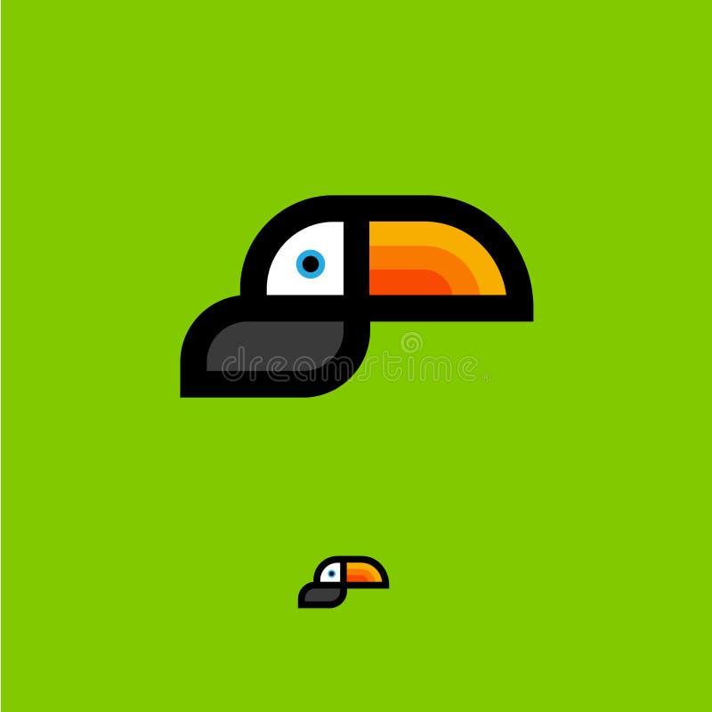логос toucan Тропическая эмблема птицы Значок Toucan плоский, изолированный на зеленой предпосылке иллюстрация вектора