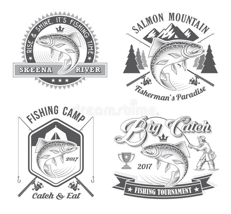 Логотипы вектора турнира рыбной ловли иллюстрация штока
