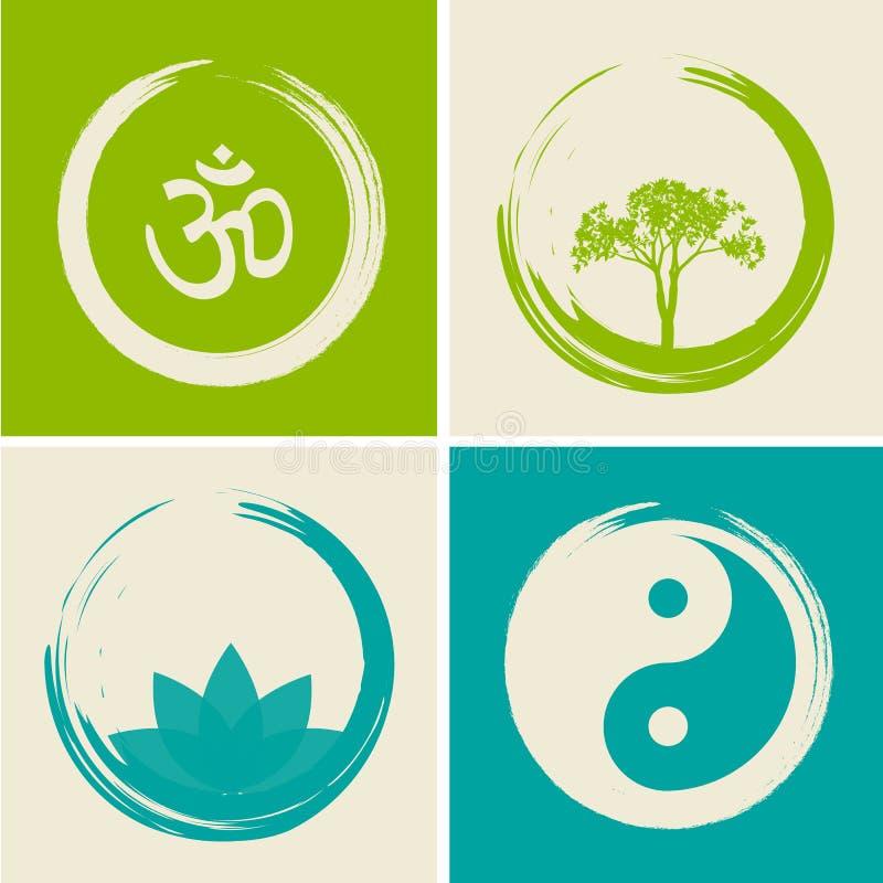 Логотипы вектора духовные установили иллюстрацию с индусским словом Om иллюстрация штока