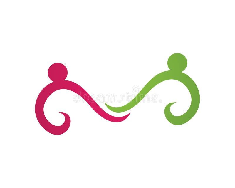 Логотипы заботы семьи людей безграничности иллюстрация штока