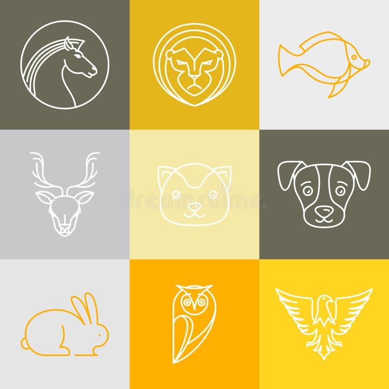 Логотипы и знаки вектора линейные иллюстрация вектора