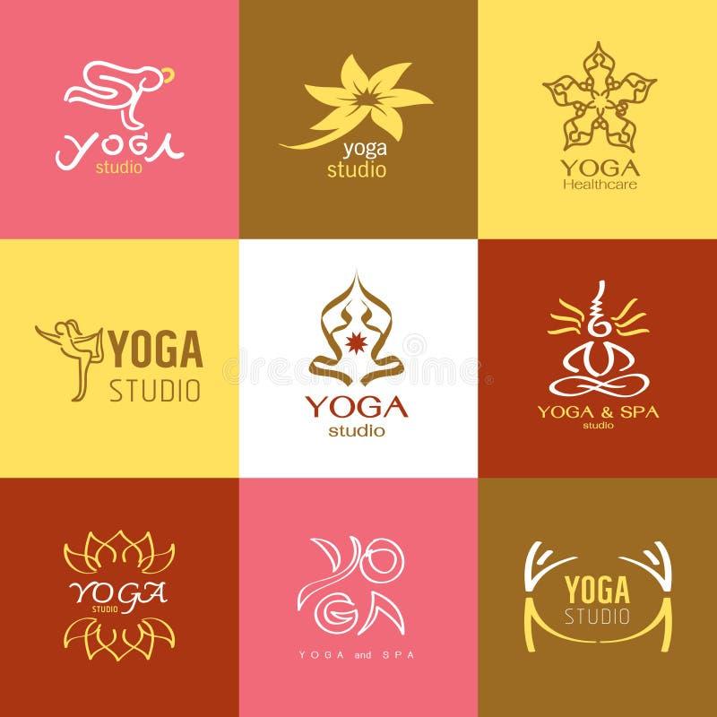 Логотипы и значки установленные для студии йоги или класса раздумья бесплатная иллюстрация