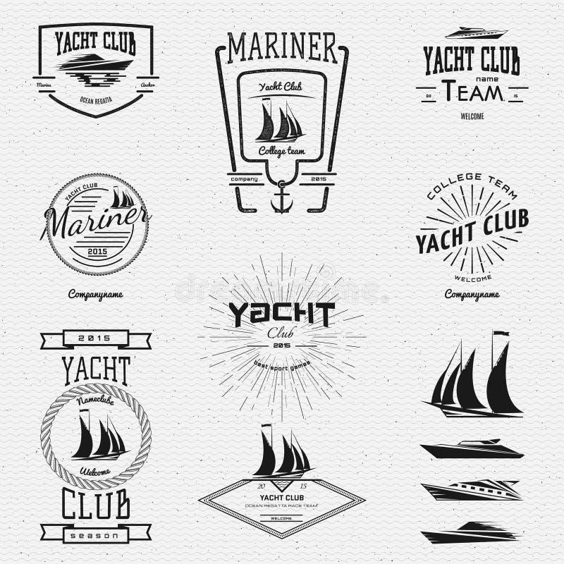 Логотипы и ярлыки значков яхт-клуба для любых используют иллюстрация вектора