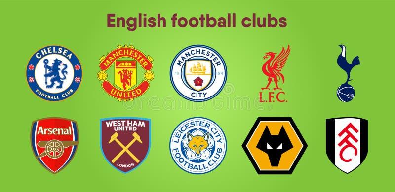 Логотипы клуба футбола Установите 10 различных дизайнов вектора для значков или эмблем клуба футбола премьер-лиги английских в a иллюстрация штока