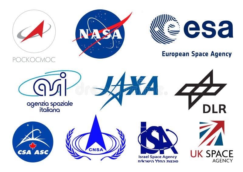 Логотипы космических агентств мира иллюстрация штока