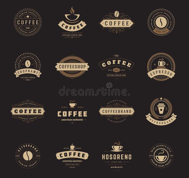 Логотипы кофейни, значки и дизайн ярлыков иллюстрация штока