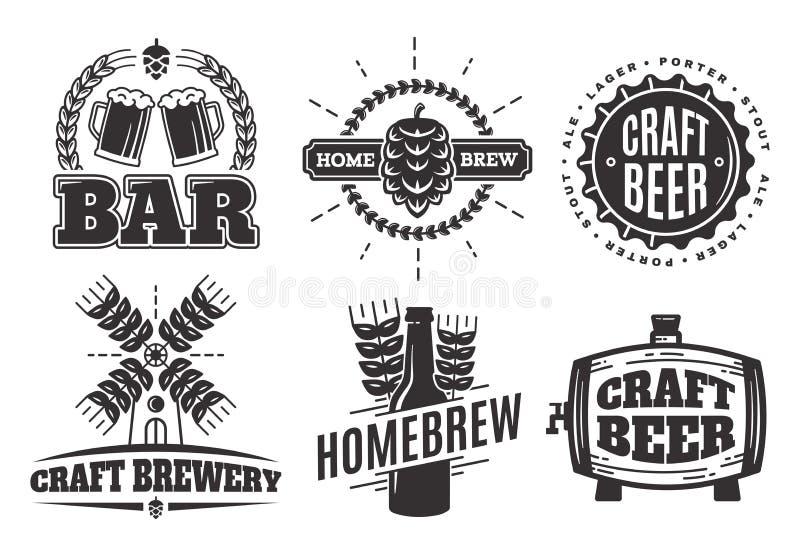 Логотипы пива ремесла вектора винтажные ярлыки и эмблемы бара иллюстрация вектора
