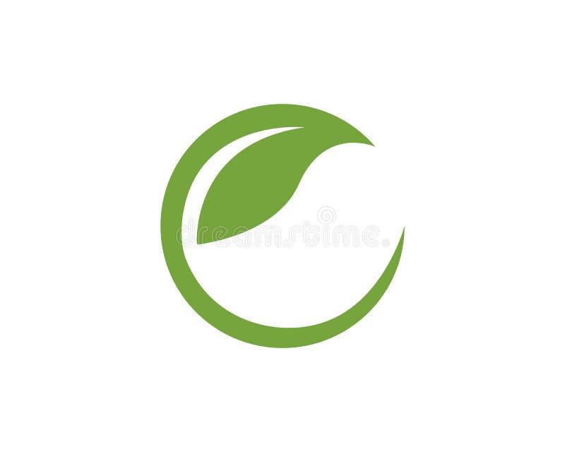 Логотипы письма c зеленого элемента природы экологичности лист дерева иллюстрация штока