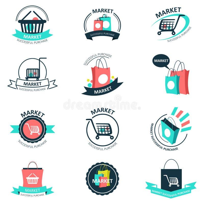 Логотипы покупок и рынка иллюстрация вектора