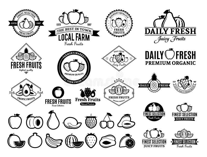 Логотипы плодоовощей, обозначают, приносить значки и элементы дизайна бесплатная иллюстрация