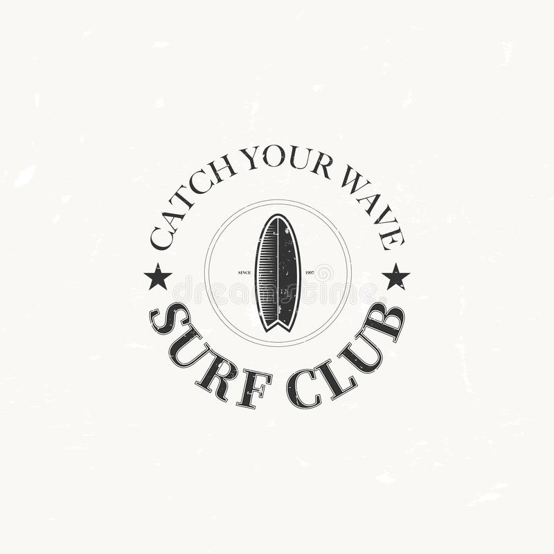 Логотипы ретро винтажного серфинга вектора и внешнего спорта бесплатная иллюстрация