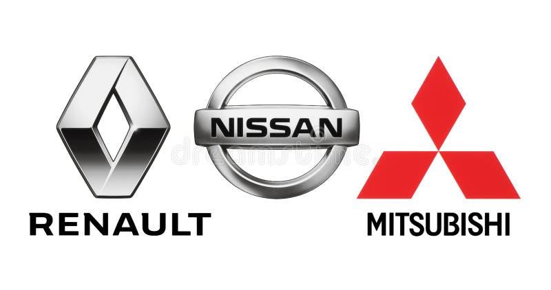 Логотипы союзничества производителей автомобилей: Renault, Nissan, Мицубиси иллюстрация штока