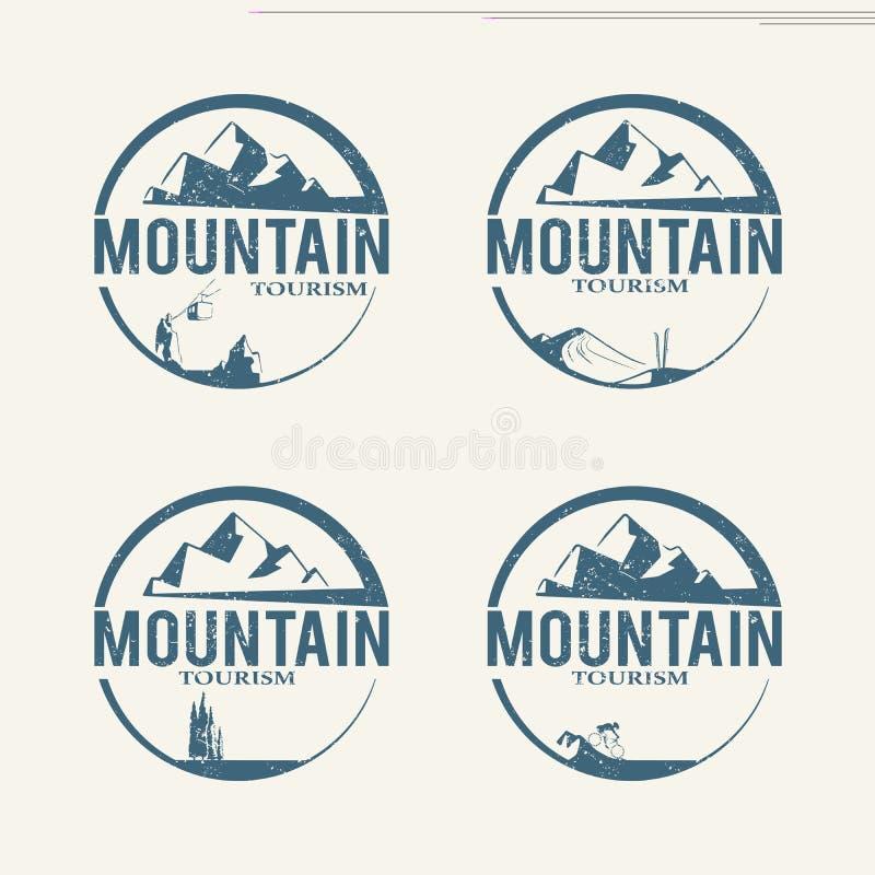 Логотипы туризма горы иллюстрация штока