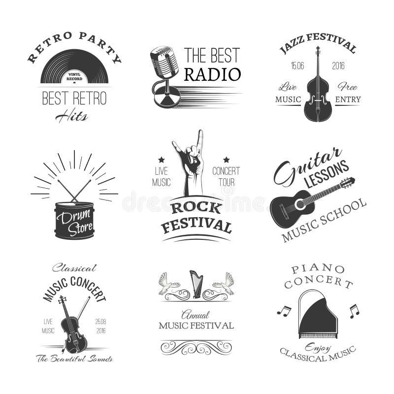 Логотипы установленные для джазового фестиваля или концерта в реальном маштабе времени аппаратуры музыкальные также вектор иллюст иллюстрация штока