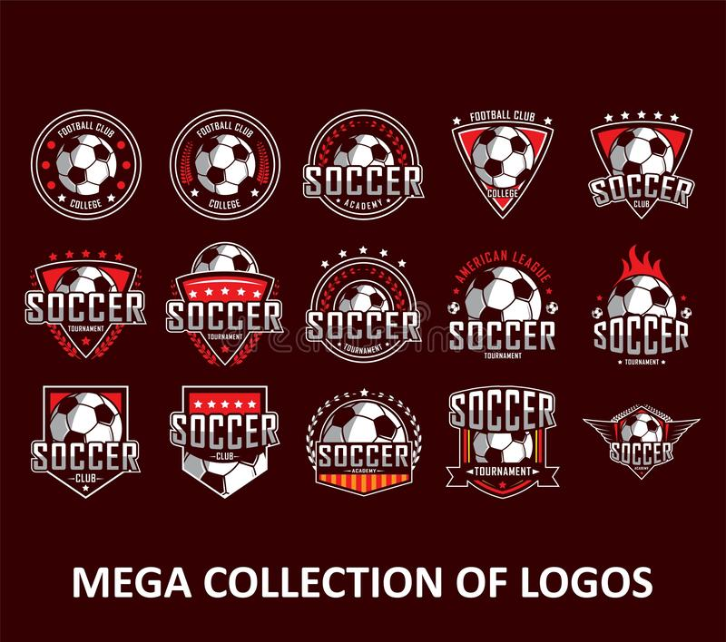 Логотипы футбола Логотип Америки, классический логотип Установите 20 значков футбола для вашего дела Шаблоны современного дизайна иллюстрация штока