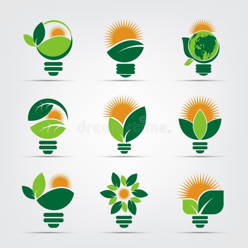логотипы шарика экологичности символа зеленого цвета со значком элемента солнца и природы листьев на белой предпосылке иллюстрато иллюстрация вектора