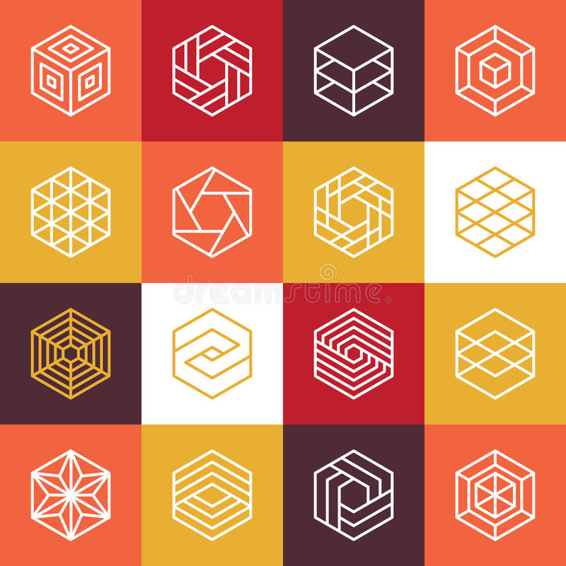 Логотипы шестиугольника вектора линейные и элементы дизайна иллюстрация вектора