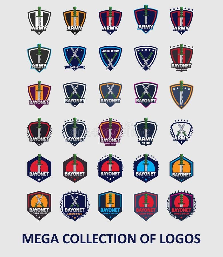 Логотипы штифта Установите 30 ярлыков штифта для вашего дела Шаблоны современного дизайна для спорта бесплатная иллюстрация