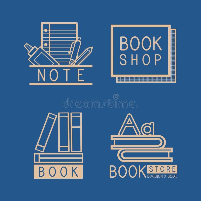 Логотипы Bookstore и вектор знака установленный иллюстрация штока