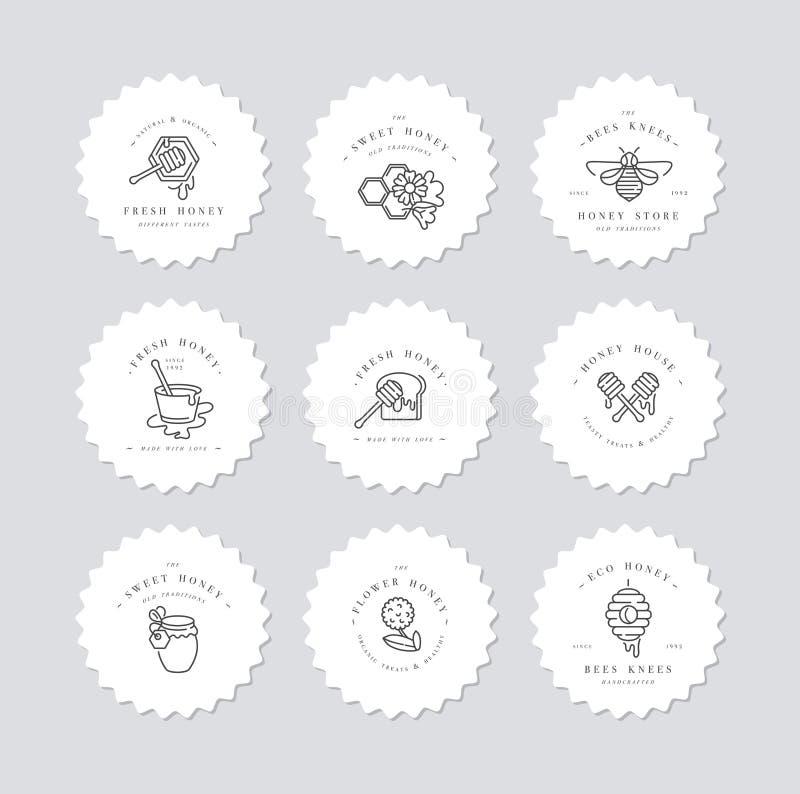 Логотипы illustartion вектора установленные и шаблоны или значки дизайна Ярлыки и бирки органических и eco меда с пчелами линейно бесплатная иллюстрация