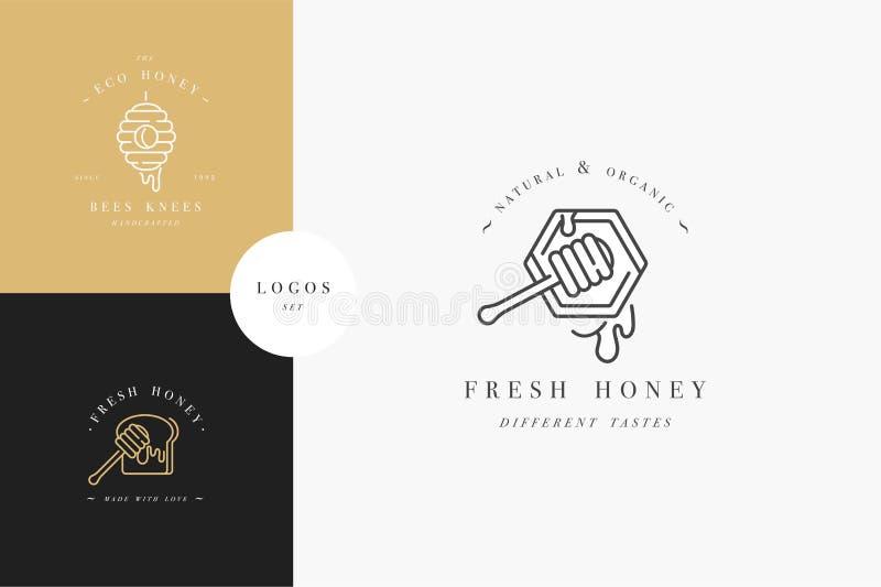 Логотипы illustartion вектора установленные и шаблоны или значки дизайна Ярлыки и бирки органических и eco меда с пчелами линейно иллюстрация штока