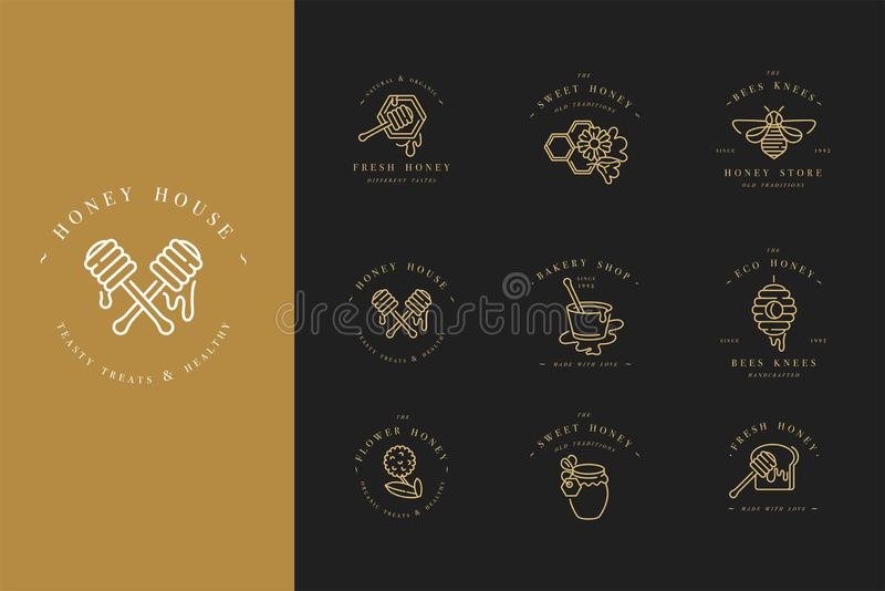 Логотипы illustartion вектора установленные и шаблоны или значки дизайна Ярлыки и бирки органических и eco меда с пчелами линейно иллюстрация вектора
