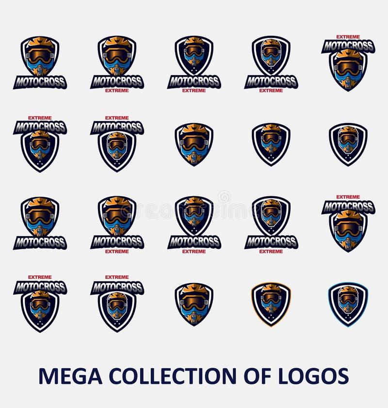 Логотипы Motocross Иллюстрация логотипа мотоцикла Значки современного дизайна установили для вашего дела Установите 20 значков Mo бесплатная иллюстрация