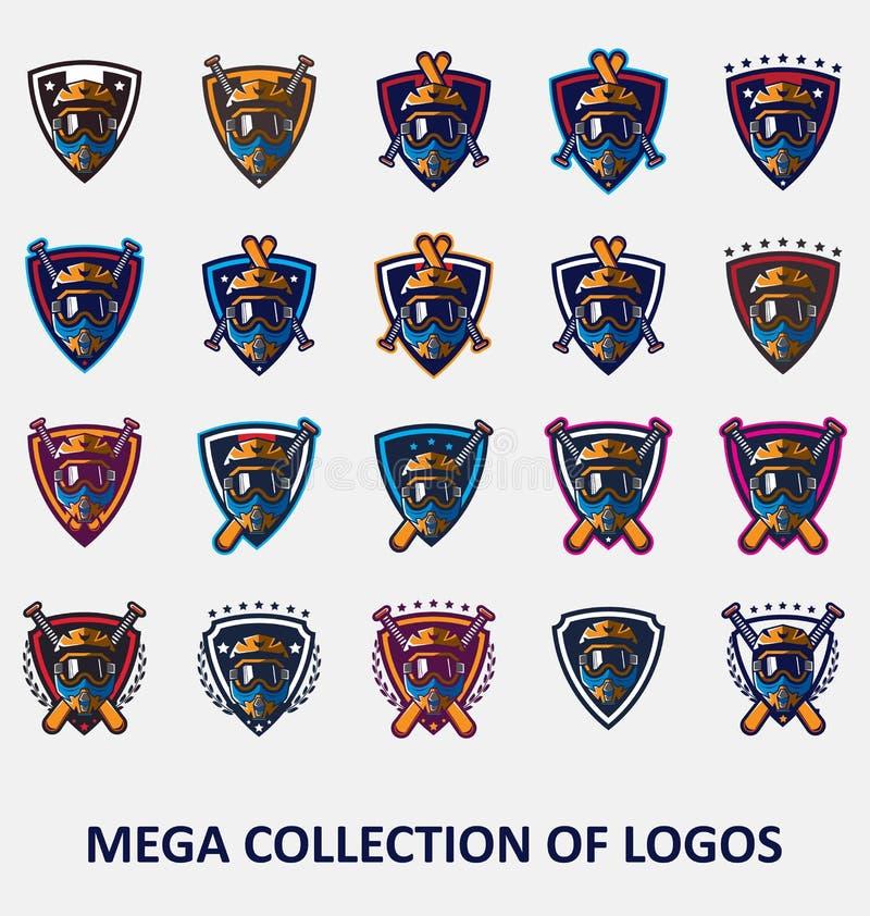 Логотипы Motocross Иллюстрация логотипа мотоцикла Установите 20 значков Motocross для вашего дела Шаблоны современного дизайна дл иллюстрация вектора