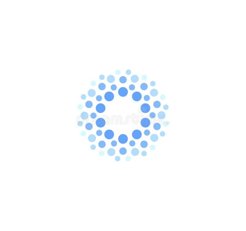 Логотип абстрактного голубого цвета круглый от кругов Шаблон логотипа вектора воды Новаторский метод чистки и замерзать бесплатная иллюстрация