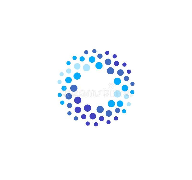 Логотип абстрактного голубого цвета круглый от кругов Шаблон логотипа вектора воды Новаторский метод чистки и замерзать иллюстрация штока