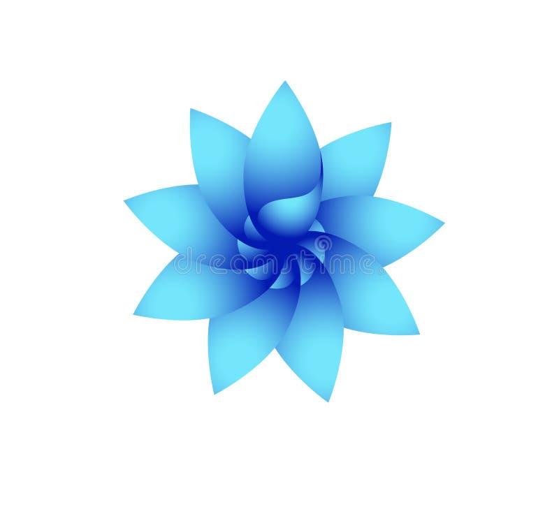 Логотип абстрактного современного круга голубой, радуга, цветок, элемент, вектор флористических, цветка формы и дизайн вектора зн иллюстрация вектора