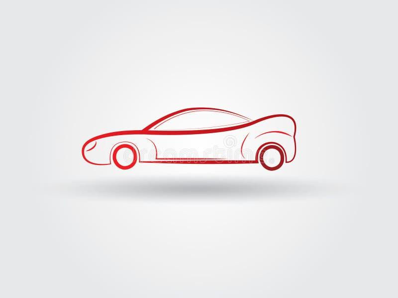 Логотип автомобиля простых спорт красный с тенью на белом векторе предпосылки иллюстрация вектора