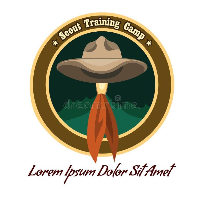 Логотип лагеря разведчика иллюстрация штока
