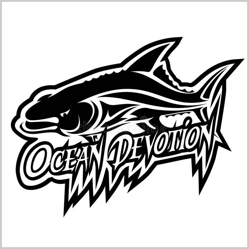 Логотип акулы для команды спорта на белизне r бесплатная иллюстрация