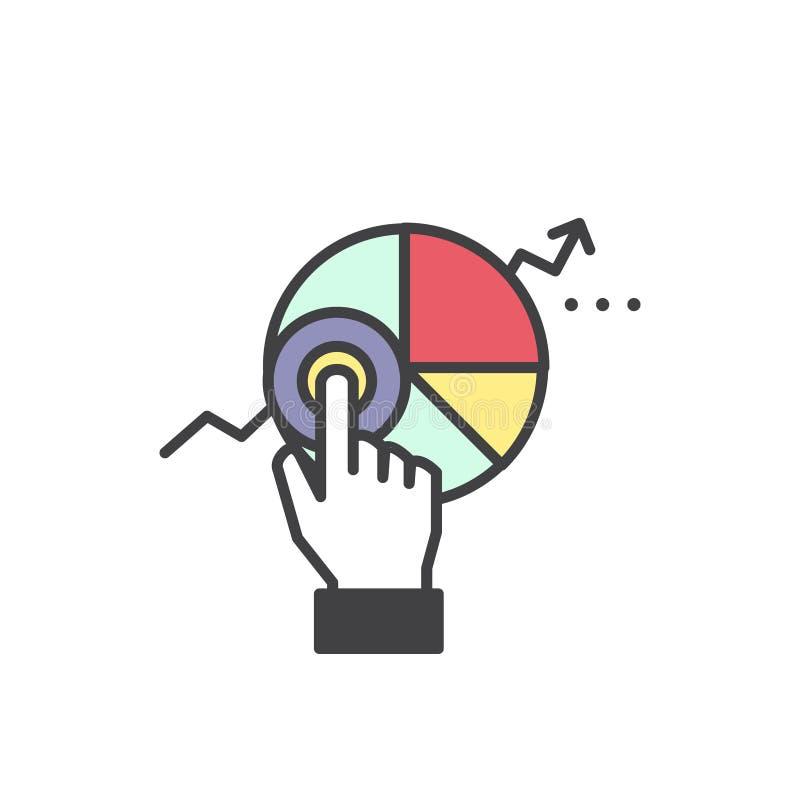 Логотип данных по аналитика сети и статистики вебсайта развития с визуализированием простых данных с диаграммами и диаграммой иллюстрация вектора