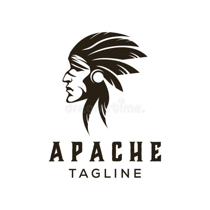 Логотип апаша американца индийский иллюстрация вектора