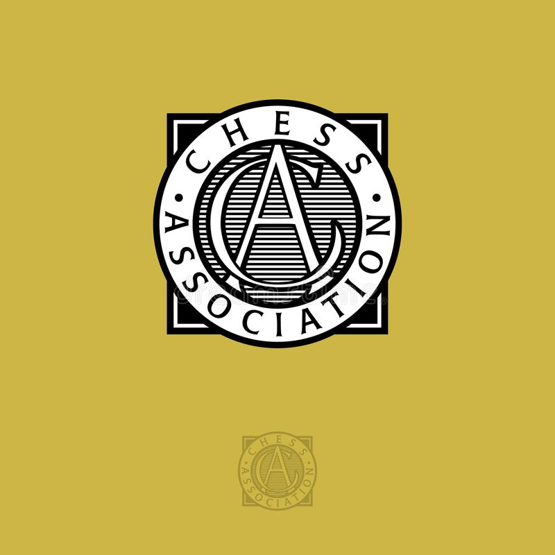 Логотип ассоциации шахмат мира Письма a и c Черно-белый логотип на желтой предпосылке бесплатная иллюстрация