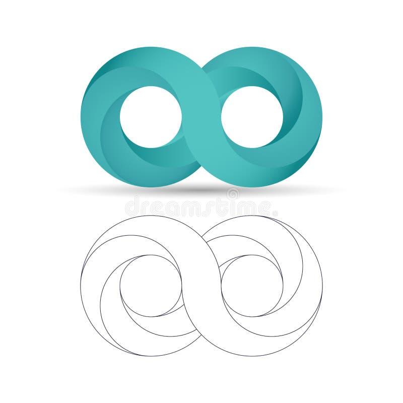 Логотип безграничности абстрактного символа Бесконечные значки знака в 3d и стиле плана Иллюстрация вектора градиента иллюстрация вектора